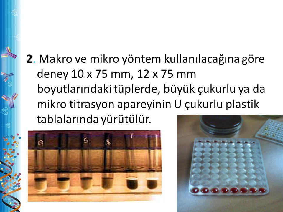 2. Makro ve mikro yöntem kullanılacağına göre deney 10 x 75 mm, 12 x 75 mm boyutlarındaki tüplerde, büyük çukurlu ya da mikro titrasyon apareyinin U ç