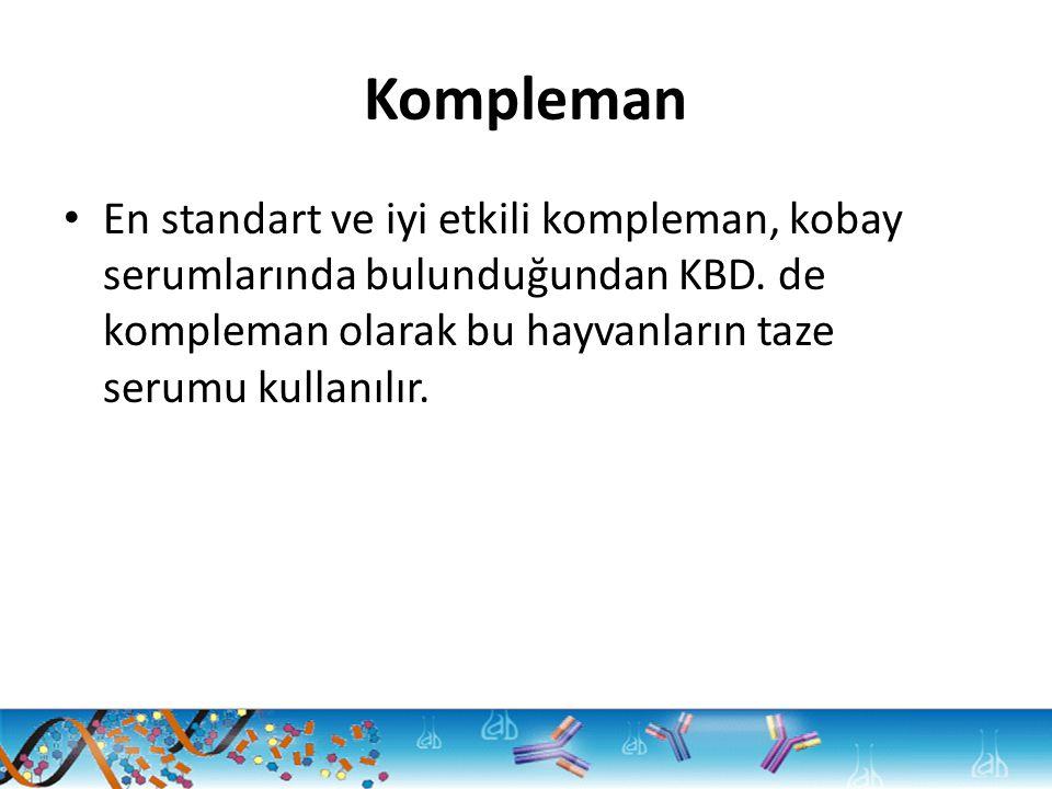 Kompleman En standart ve iyi etkili kompleman, kobay serumlarında bulunduğundan KBD. de kompleman olarak bu hayvanların taze serumu kullanılır.