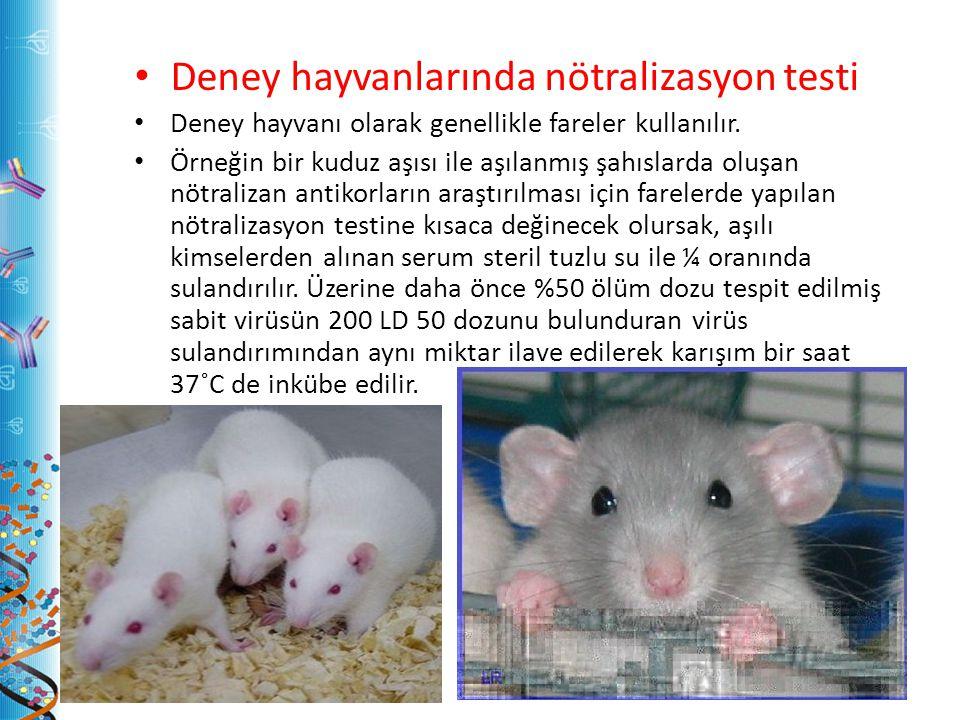 Deney hayvanlarında nötralizasyon testi Deney hayvanı olarak genellikle fareler kullanılır. Örneğin bir kuduz aşısı ile aşılanmış şahıslarda oluşan nö