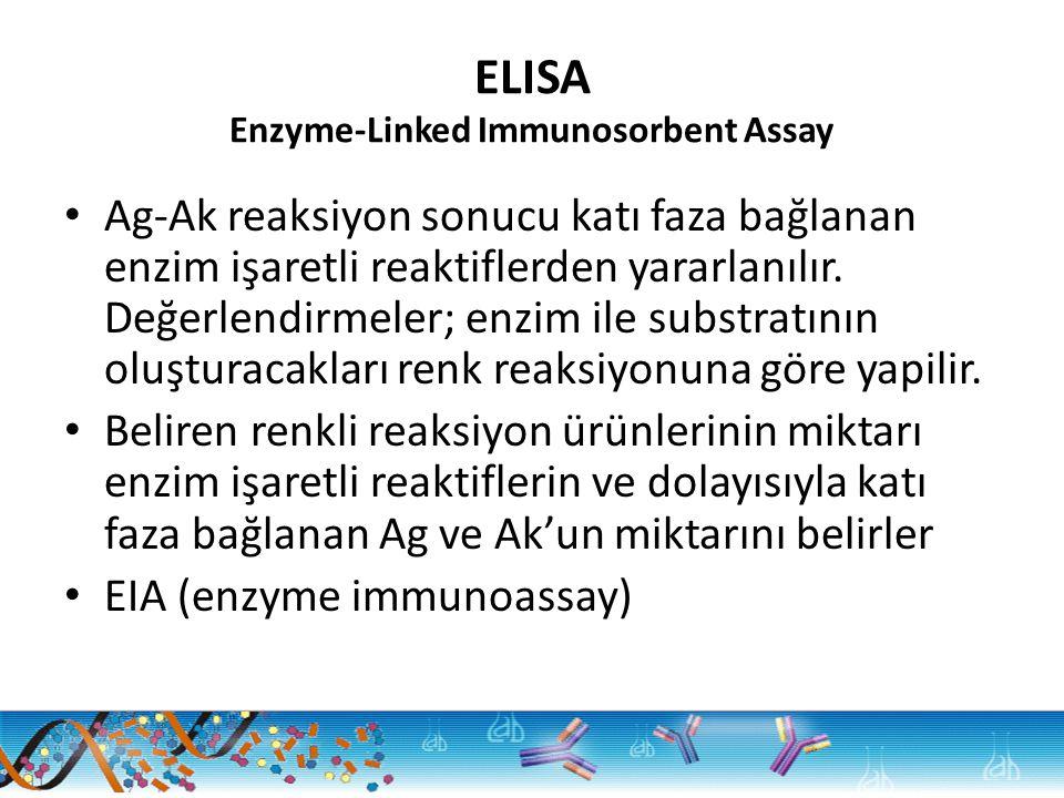 ELISA Enzyme-Linked Immunosorbent Assay Ag-Ak reaksiyon sonucu katı faza bağlanan enzim işaretli reaktiflerden yararlanılır. Değerlendirmeler; enzim i