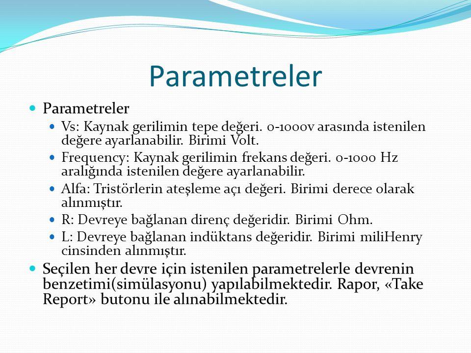 Parametreler Vs: Kaynak gerilimin tepe değeri. 0-1000v arasında istenilen değere ayarlanabilir. Birimi Volt. Frequency: Kaynak gerilimin frekans değer
