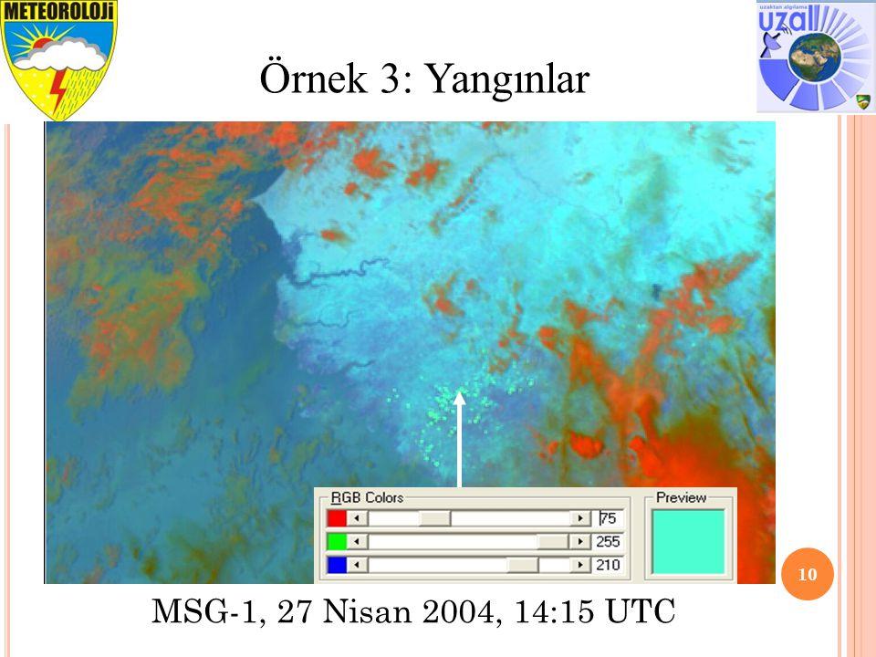 10 Örnek 3: Yangınlar MSG-1, 27 Nisan 2004, 14:15 UTC