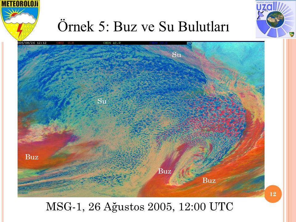 12 Örnek 5: Buz ve Su Bulutları MSG-1, 26 Ağustos 2005, 12:00 UTC Su Buz