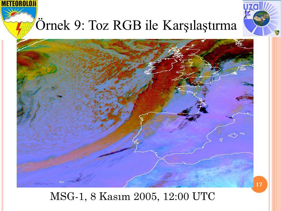 17 Örnek 9: Toz RGB ile Karşılaştırma MSG-1, 8 Kasım 2005, 12:00 UTC