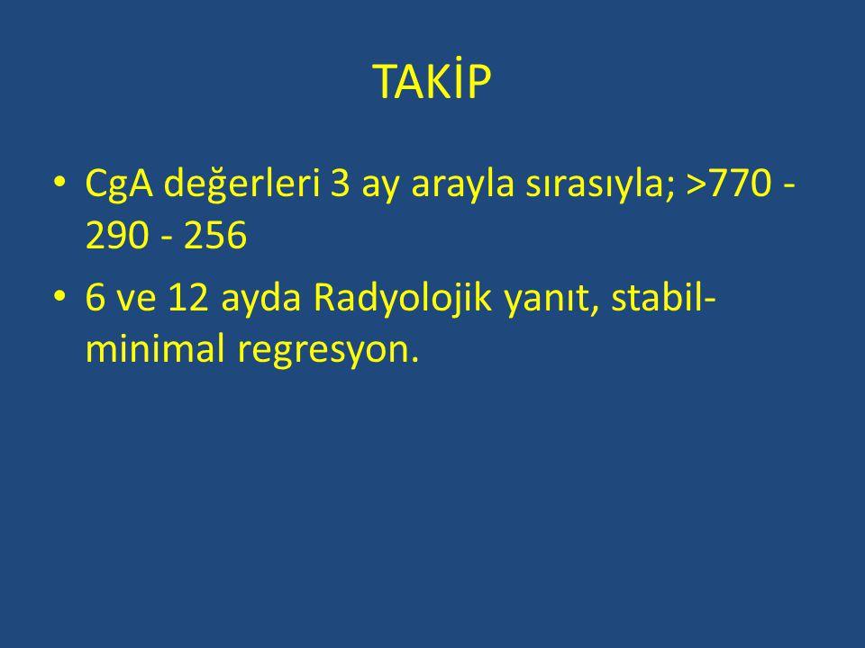 TAKİP CgA değerleri 3 ay arayla sırasıyla; >770 - 290 - 256 6 ve 12 ayda Radyolojik yanıt, stabil- minimal regresyon.