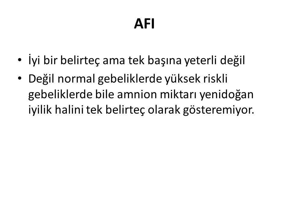 AFI İyi bir belirteç ama tek başına yeterli değil Değil normal gebeliklerde yüksek riskli gebeliklerde bile amnion miktarı yenidoğan iyilik halini tek belirteç olarak gösteremiyor.