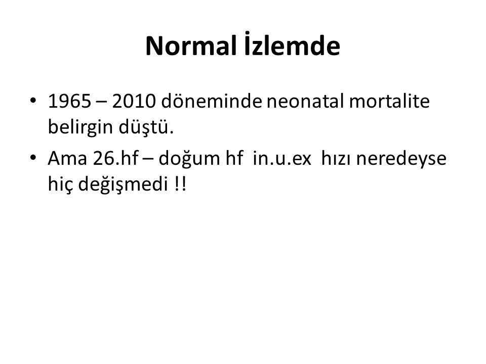 Normal İzlemde 1965 – 2010 döneminde neonatal mortalite belirgin düştü.