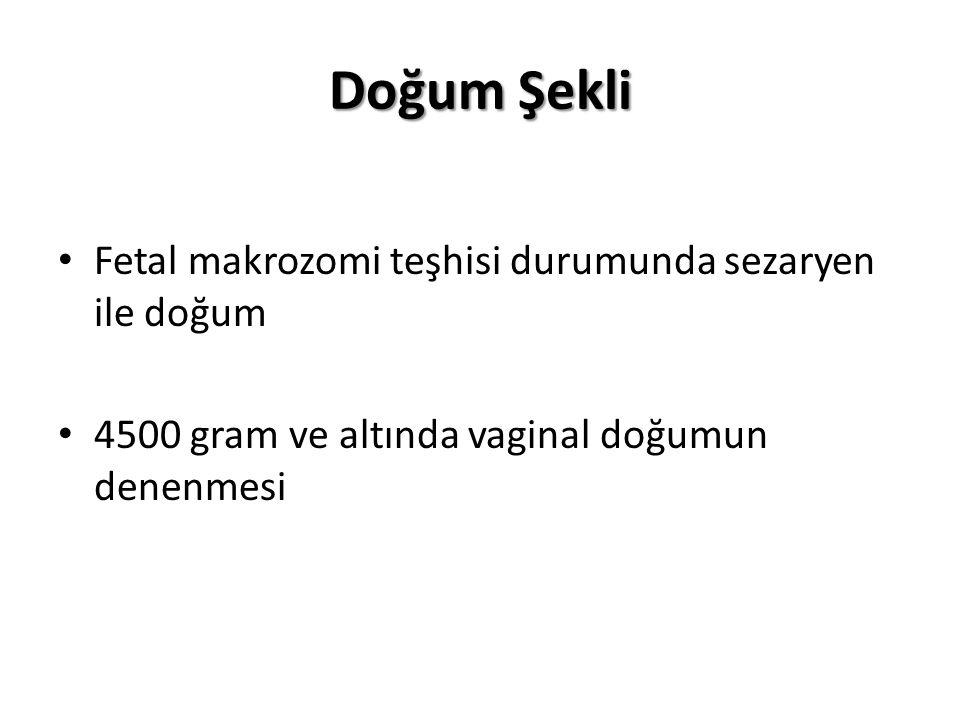 Doğum Şekli Fetal makrozomi teşhisi durumunda sezaryen ile doğum 4500 gram ve altında vaginal doğumun denenmesi