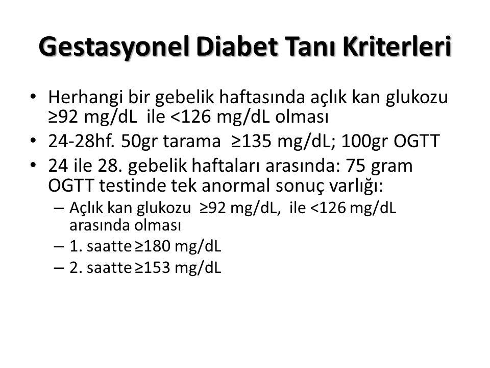Gestasyonel Diabet Tanı Kriterleri Herhangi bir gebelik haftasında açlık kan glukozu ≥92 mg/dL ile <126 mg/dL olması 24-28hf.