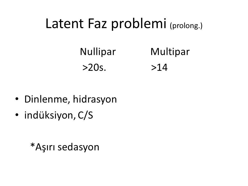 Latent Faz problemi (prolong.) Nullipar Multipar >20s.
