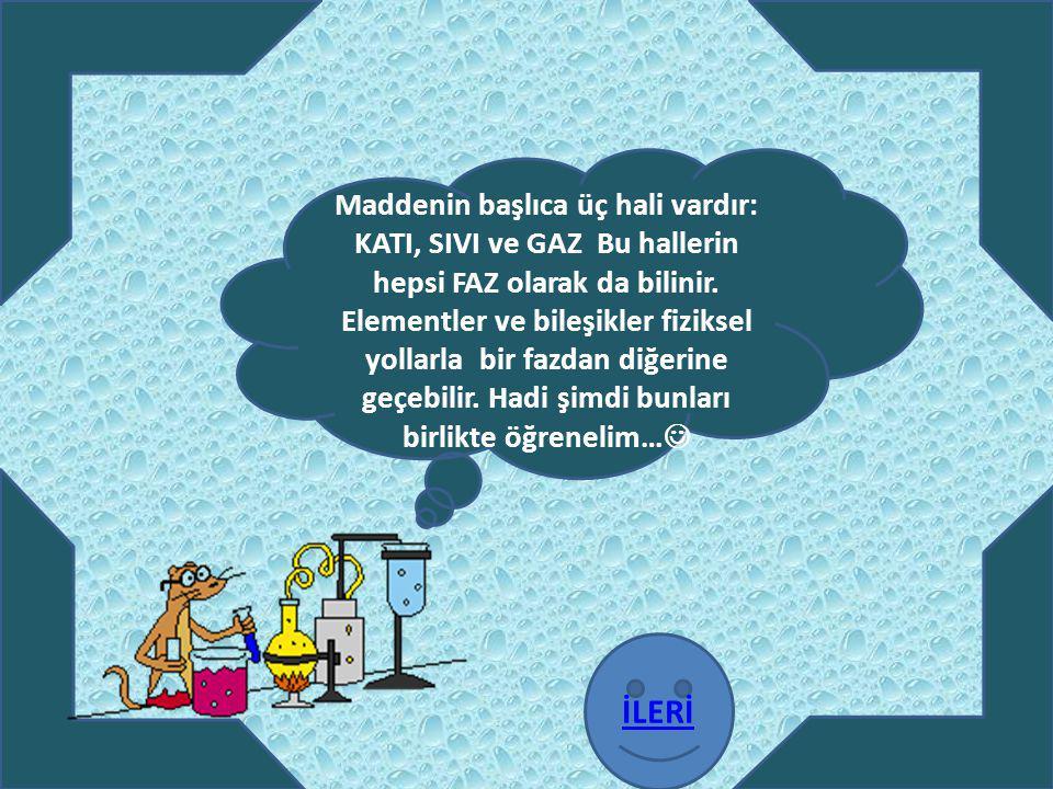 Maddenin başlıca üç hali vardır: KATI, SIVI ve GAZ Bu hallerin hepsi FAZ olarak da bilinir. Elementler ve bileşikler fiziksel yollarla bir fazdan diğe
