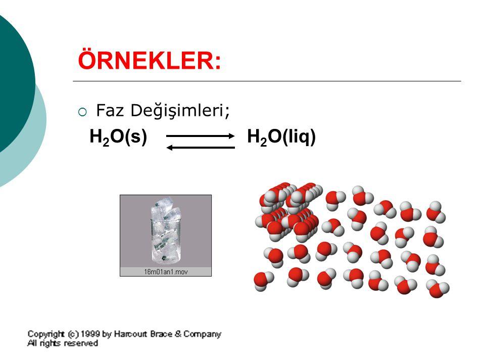 ÖRNEKLER:  Faz Değişimleri; H 2 O(s) H 2 O(liq)
