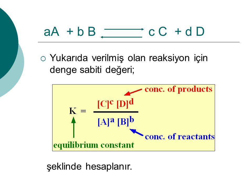 aA + b B c C + d D  Yukarıda verilmiş olan reaksiyon için denge sabiti değeri; şeklinde hesaplanır.