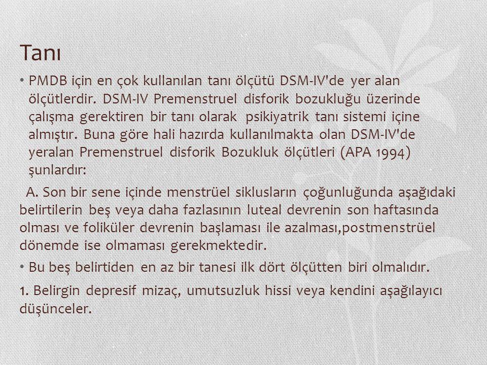 Tanı PMDB için en çok kullanılan tanı ölçütü DSM-IV'de yer alan ölçütlerdir. DSM-IV Premenstruel disforik bozukluğu üzerinde çalışma gerektiren bir ta