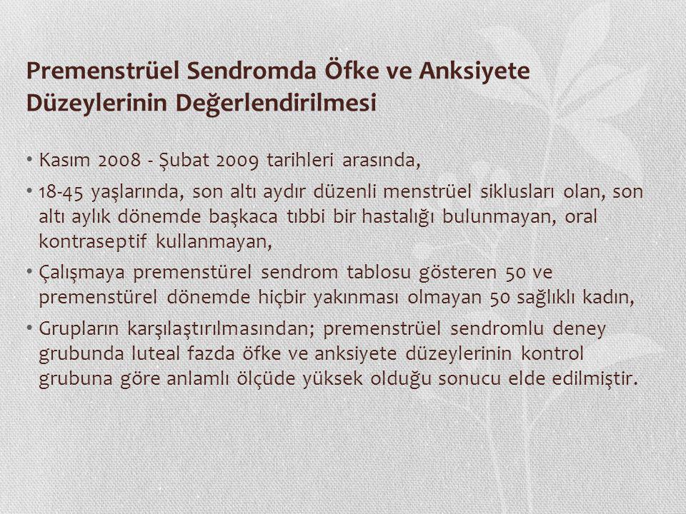 Premenstrüel Sendromda Öfke ve Anksiyete Düzeylerinin Değerlendirilmesi Kasım 2008 - Şubat 2009 tarihleri arasında, 18-45 yaşlarında, son altı aydır d
