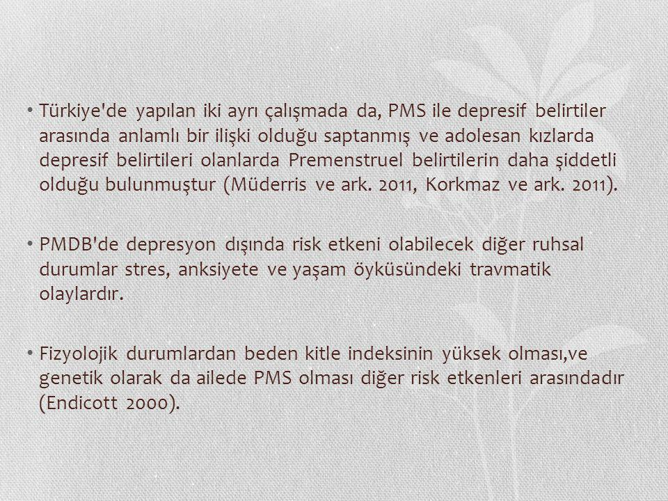 Premenstrüel Sendromda Öfke ve Anksiyete Düzeylerinin Değerlendirilmesi Kasım 2008 - Şubat 2009 tarihleri arasında, 18-45 yaşlarında, son altı aydır düzenli menstrüel siklusları olan, son altı aylık dönemde başkaca tıbbi bir hastalığı bulunmayan, oral kontraseptif kullanmayan, Çalışmaya premenstürel sendrom tablosu gösteren 50 ve premenstürel dönemde hiçbir yakınması olmayan 50 sağlıklı kadın, Grupların karşılaştırılmasından; premenstrüel sendromlu deney grubunda luteal fazda öfke ve anksiyete düzeylerinin kontrol grubuna göre anlamlı ölçüde yüksek olduğu sonucu elde edilmiştir.