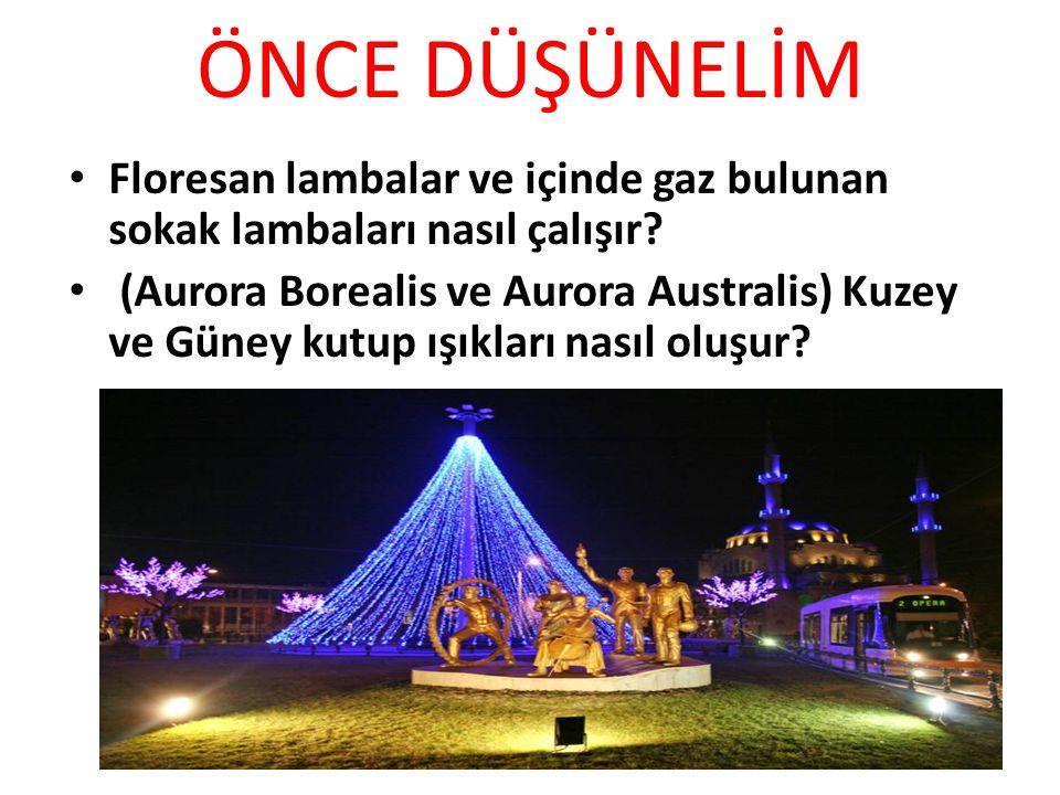 ÖNCE DÜŞÜNELİM Floresan lambalar ve içinde gaz bulunan sokak lambaları nasıl çalışır? (Aurora Borealis ve Aurora Australis) Kuzey ve Güney kutup ışıkl