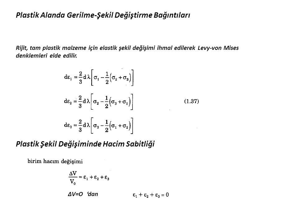 Plastik Alanda Gerilme-Şekil Değiştirme Bağıntıları Rijit, tam plastik malzeme için elastik şekil değişimi ihmal edilerek Levy-von Mises denklemleri elde edilir.