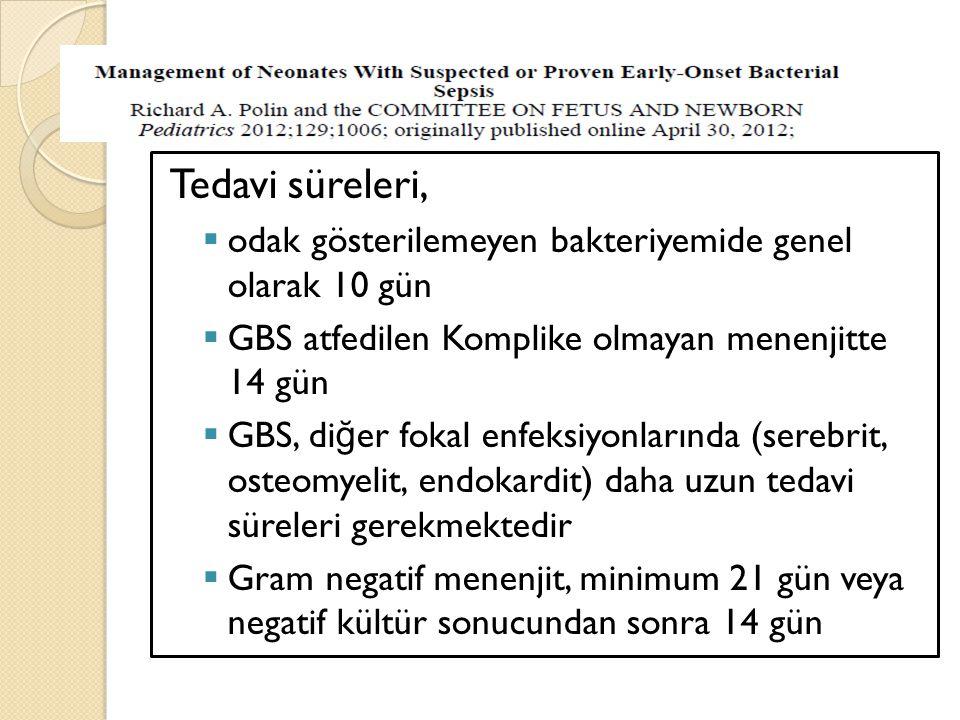Tedavi süreleri,  odak gösterilemeyen bakteriyemide genel olarak 10 gün  GBS atfedilen Komplike olmayan menenjitte 14 gün  GBS, di ğ er fokal enfek