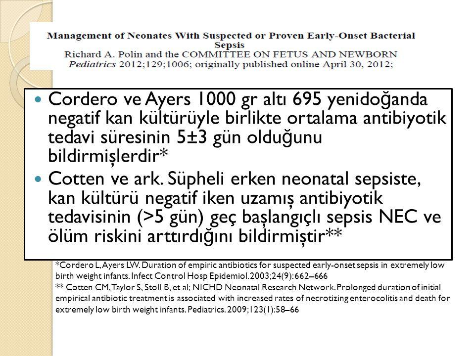 Cordero ve Ayers 1000 gr altı 695 yenido ğ anda negatif kan kültürüyle birlikte ortalama antibiyotik tedavi süresinin 5±3 gün oldu ğ unu bildirmişlerd