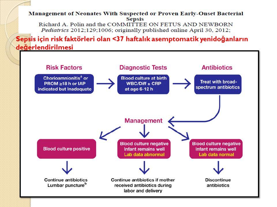 Sepsis için risk faktörleri olan <37 haftalık asemptomatik yenido ğ anların de ğ erlendirilmesi