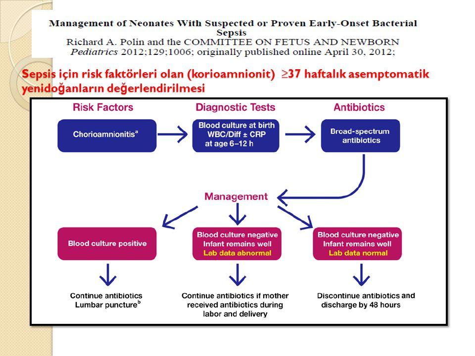 Sepsis için risk faktörleri olan (korioamnionit) ≥37 haftalık asemptomatik yenido ğ anların de ğ erlendirilmesi