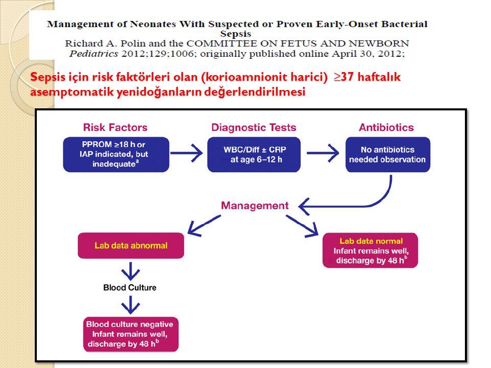 Sepsis için risk faktörleri olan (korioamnionit harici) ≥37 haftalık asemptomatik yenido ğ anların de ğ erlendirilmesi