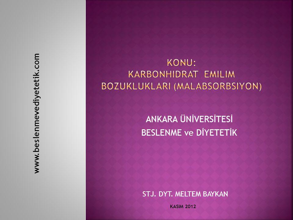 ANKARA ÜNİVERSİTESİ BESLENME ve DİYETETİK STJ. DYT. MELTEM BAYKAN KASIM 2012 www.beslenmevediyetetik.com