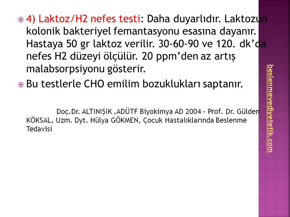  4) Laktoz/H2 nefes testi: Daha duyarlıdır. Laktozun kolonik bakteriyel femantasyonu esasına dayanır. Hastaya 50 gr laktoz verilir. 30-60-90 ve 120.