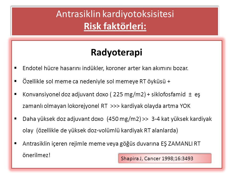 Antrasiklin kardiyotoksisitesi Risk faktörleri: Radyoterapi  Endotel hücre hasarını indükler, koroner arter kan akımını bozar.  Özellikle sol meme c