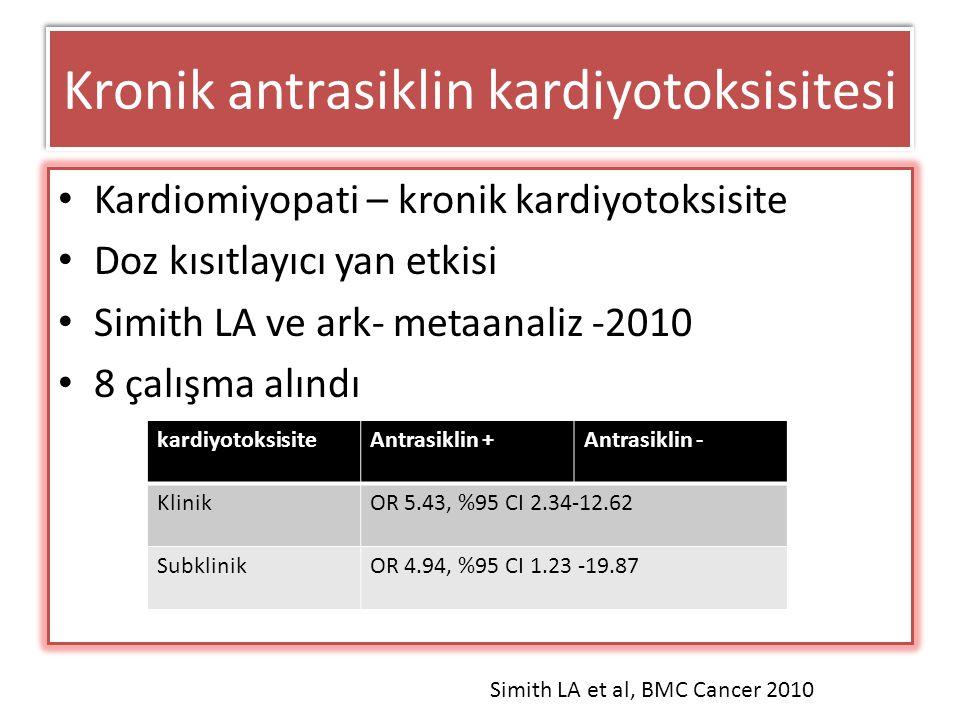 Kronik antrasiklin kardiyotoksisitesi Kardiomiyopati – kronik kardiyotoksisite Doz kısıtlayıcı yan etkisi Simith LA ve ark- metaanaliz -2010 8 çalışma