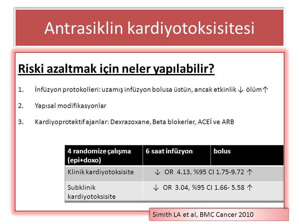 Antrasiklin kardiyotoksisitesi Riski azaltmak için neler yapılabilir? 1.İnfüzyon protokolleri: uzamış infüzyon bolusa üstün, ancak etkinlik ↓ ölüm↑ 2.