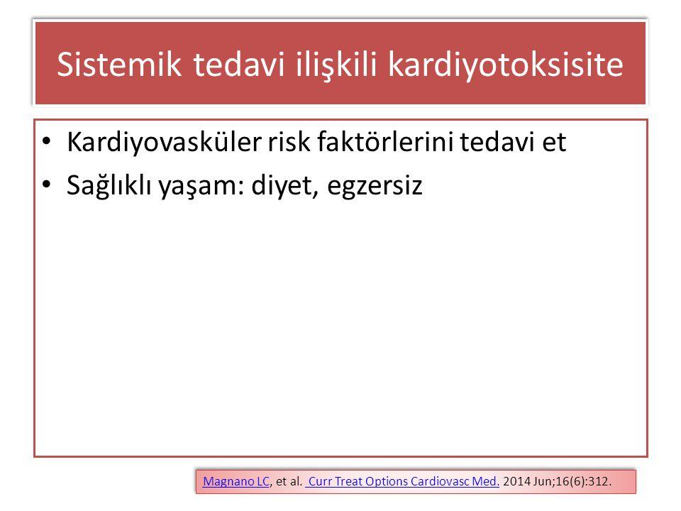 Sistemik tedavi ilişkili kardiyotoksisite Kardiyovasküler risk faktörlerini tedavi et Sağlıklı yaşam: diyet, egzersiz Magnano LCMagnano LC, et al. Cur
