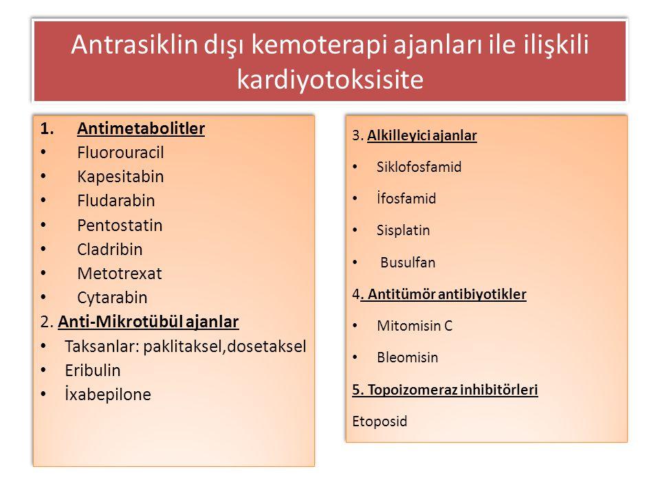 1.Antimetabolitler Fluorouracil Kapesitabin Fludarabin Pentostatin Cladribin Metotrexat Cytarabin 2. Anti-Mikrotübül ajanlar Taksanlar: paklitaksel,do