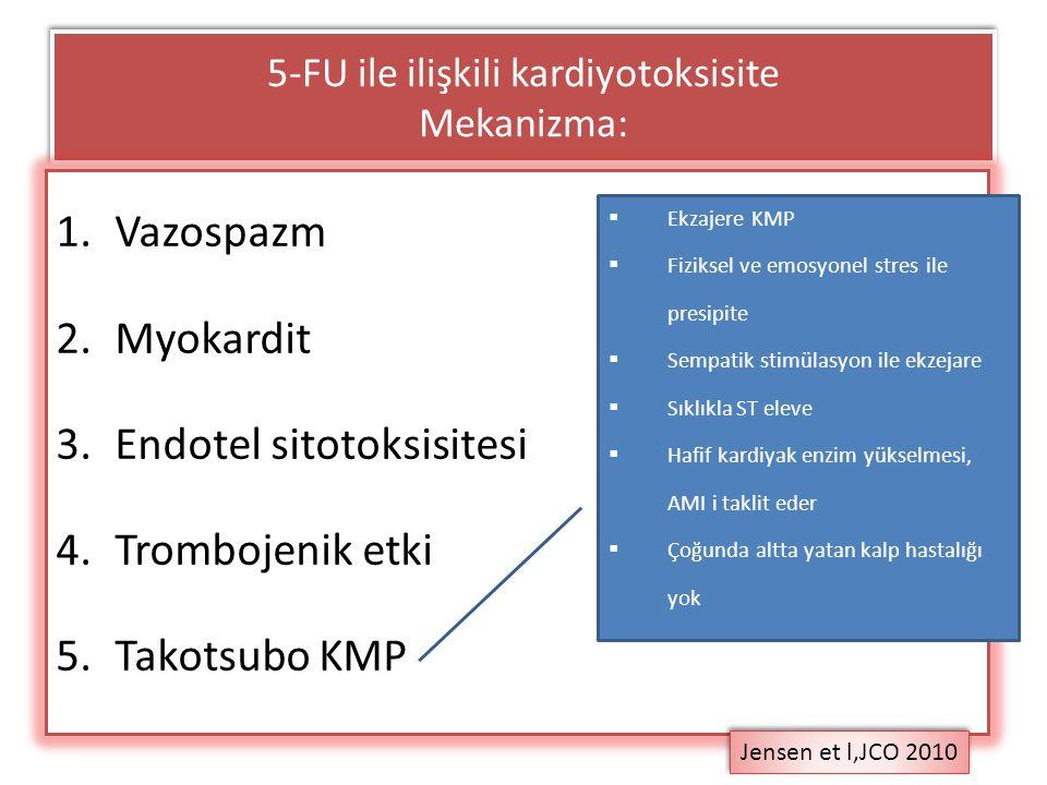 5-FU ile ilişkili kardiyotoksisite Mekanizma: 1.Vazospazm 2.Myokardit 3.Endotel sitotoksisitesi 4.Trombojenik etki 5.Takotsubo KMP Jensen et l,JCO 201