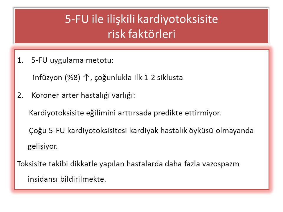5-FU ile ilişkili kardiyotoksisite risk faktörleri 1.5-FU uygulama metotu: infüzyon (%8) ↑, çoğunlukla ilk 1-2 siklusta 2. Koroner arter hastalığı var