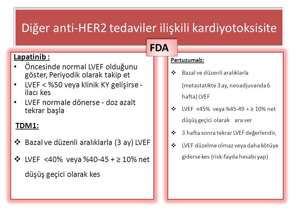 Diğer anti-HER2 tedaviler ilişkili kardiyotoksisite Lapatinib : Öncesinde normal LVEF olduğunu göster, Periyodik olarak takip et LVEF < %50 veya klini
