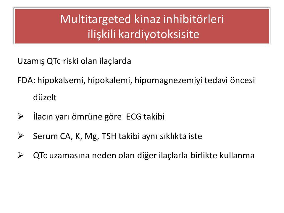 Uzamış QTc riski olan ilaçlarda FDA: hipokalsemi, hipokalemi, hipomagnezemiyi tedavi öncesi düzelt  İlacın yarı ömrüne göre ECG takibi  Serum CA, K,