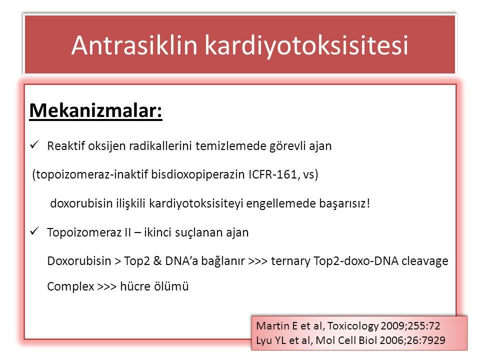 KONSENSUS YOK ASCO Doxorubisin < 300 mg/m2 alması planlanan (örn: meme kanseri adjuvan tedavide) Eş zamanlı başka kardiyotoksik ilaç kullanılmadığında ve Altta yatan kardiyak risk faktörü olmayan Genç, premenapoz Adjuvan trastuzumab almayacaksa Kişilerde bazal değerlendirme önermemekte Antrasiklin kardiyotoksisitesi Tüm hastalara bazal LVEF değerlendirmesi yapalım mı.