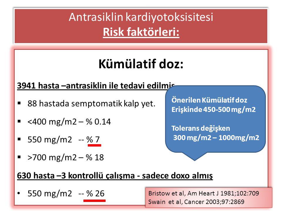Trastuzumab ilişkili kardiyotoksisite  KT ilişkili kardiyak disfonskiyon (2005): Tip I: antrasiklinler, miyosit destrüksiyonu ve klinik kalp yetersizliği Tip II: trastuzumab ve diğer, kontraktilite kaybı (stunning veya hibernasyon), miyosit ölümü veya klinik kalp yet daha nadir ve genellikle reversibl  Tipik olarak asemptomatik LVEF da azalma  Birlikte veya daha önce antrasiklin kullanımı ve yaş > 50 –en güçlü risk faktörleri  Diğer risk faktörleri: BMI yüksek, anti hipertansif kullanımı  RT, kalp kapak hastalığı, DM, koroner arter hastalığı – riski belirgin arttırmıyor kardiyotoksisite Trastuzumab%3-7 Tras +paklitaksel%13 Tras + AC% 27 (çoğunda doxo > 300 mg/m2) AC% 8 paklitaksel%1