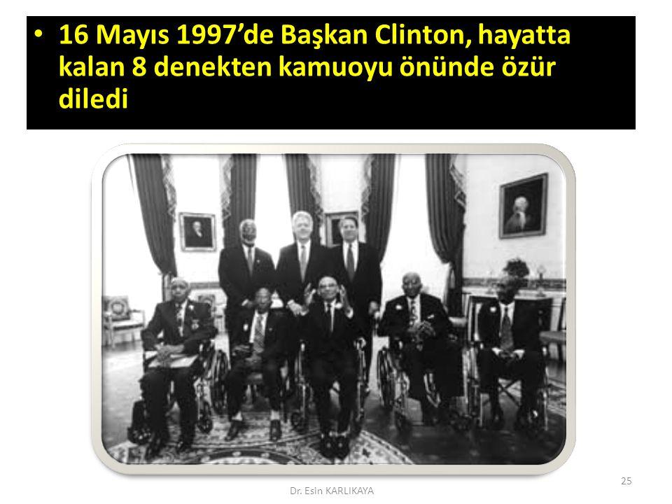 16 Mayıs 1997'de Başkan Clinton, hayatta kalan 8 denekten kamuoyu önünde özür diledi 16 Mayıs 1997'de Başkan Clinton, hayatta kalan 8 denekten kamuoyu
