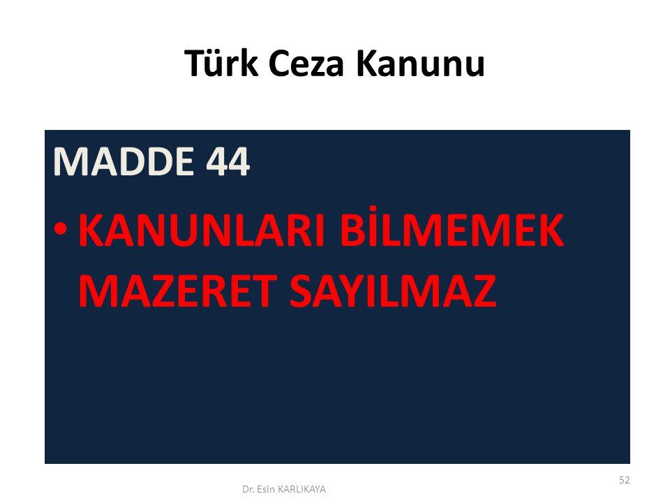 Türk Ceza Kanunu MADDE 44 KANUNLARI BİLMEMEK MAZERET SAYILMAZ Dr. Esin KARLIKAYA 52