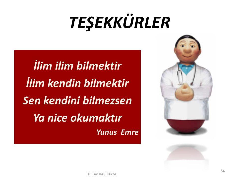 TEŞEKKÜRLER Dr. Esin KARLIKAYA 54