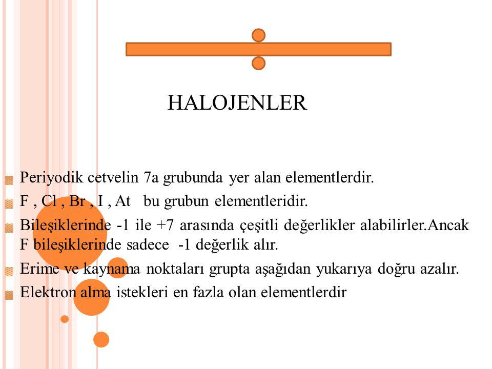 HALOJENLER ▓ Periyodik cetvelin 7a grubunda yer alan elementlerdir.