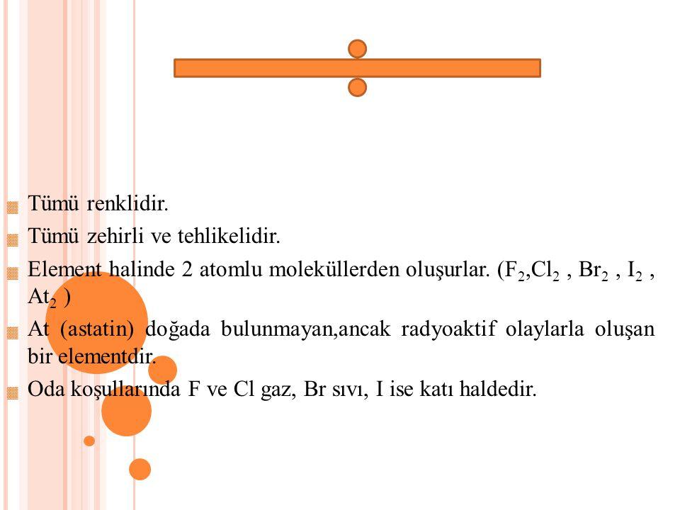 ▓ Tümü renklidir. ▓ Tümü zehirli ve tehlikelidir. ▓ Element halinde 2 atomlu moleküllerden oluşurlar. (F 2,Cl 2, Br 2, I 2, At 2 ) ▓ At (astatin) doğa