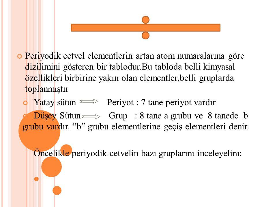 Periyodik cetvel elementlerin artan atom numaralarına göre dizilimini gösteren bir tablodur.Bu tabloda belli kimyasal özellikleri birbirine yakın olan elementler,belli gruplarda toplanmıştır Yatay sütun Periyot : 7 tane periyot vardır Düşey Sütun Grup : 8 tane a grubu ve 8 tanede b grubu vardır.