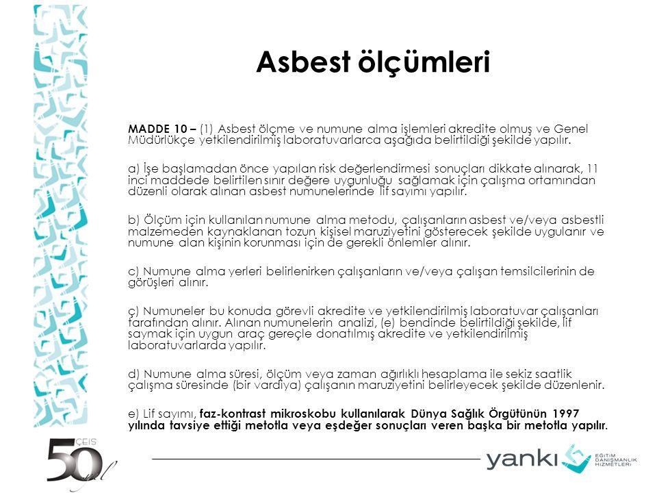 Asbest ölçümleri MADDE 10 – (1) Asbest ölçme ve numune alma işlemleri akredite olmuş ve Genel Müdürlükçe yetkilendirilmiş laboratuvarlarca aşağıda belirtildiği şekilde yapılır.