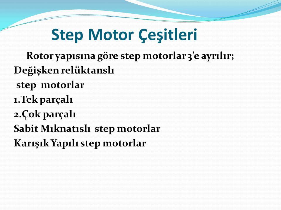 Step Motor Çeşitleri Rotor yapısına göre step motorlar 3'e ayrılır; Değişken relüktanslı step motorlar 1.Tek parçalı 2.Çok parçalı Sabit Mıknatıslı st