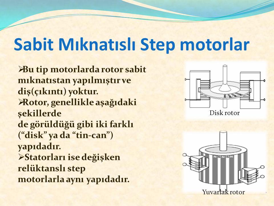 Sabit Mıknatıslı Step motorlar Disk rotor Yuvarlak rotor  Bu tip motorlarda rotor sabit mıknatıstan yapılmıştır ve diş(çıkıntı) yoktur.  Rotor, gene