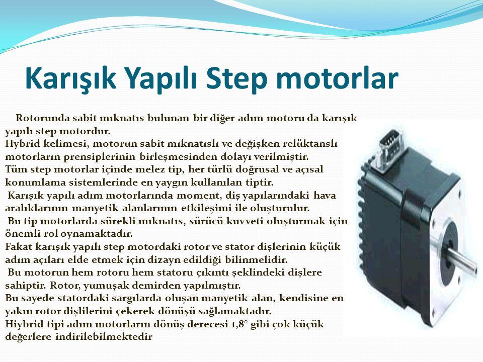 Karışık Yapılı Step motorlar Rotorunda sabit mıknatıs bulunan bir diğer adım motoru da karışık yapılı step motordur. Hybrid kelimesi, motorun sabit mı